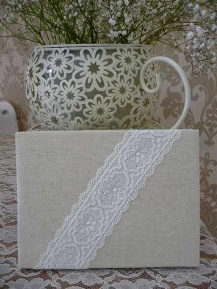 Linen and lace Guest book